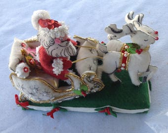 Vintage Felt decorated Santa Sleigh and reindeer