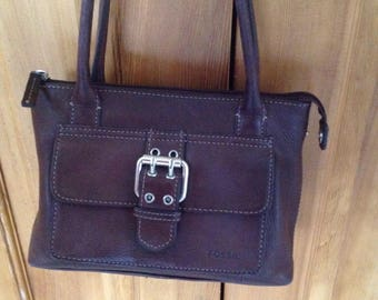 Vintage Fossil brown leather organzier buckle front satchel wallet purse