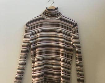 00s does 70s brown/white/pink striped turtleneck