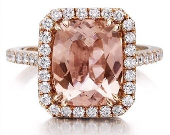 Morganite Engagement Ring 18kt Rose Gold 11x9 Peach Pink AAAAA MORGANITE Engagement Ring .60ct Diamond Halo Engagement Anniversary Ring