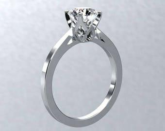 Moissanite Solitaire Engagement Ring 1.0ct Forever One Moissanite  14kt White Gold Nature Inspired  BLOOMED LOVE Ring Pristine Custom Rings