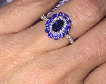 Vintage Sapphire Ring 1.56ct Genuine Sapphire & Diamond Ring 18k White Gold Wedding Ring Double Halo Vintage Birthstone Cocktail Ring