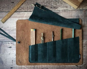Leather and suede tool roll, brush roll, pencil roll - forest green suede