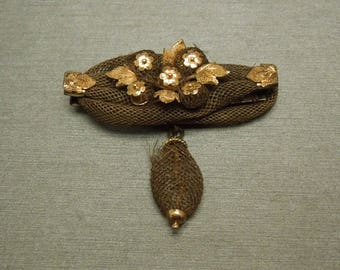 """Antique Victorian Estate C1875 14K Gold Floral Mourning Hair Pin / Brooch 1.50"""""""