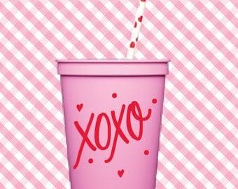 XOXO! Valentine  Cups (Qty 6)
