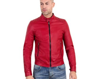 Genuine leather biker jacket, mao collar, quilted yoke on shoulders, soft leather, red color