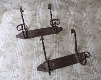 Pair of Vintage French Wrought Iron Coat Racks with Two Hooks - French Coat Racks - Rustic Metal Coat Rack - French Wrought Iron Coat Hooks