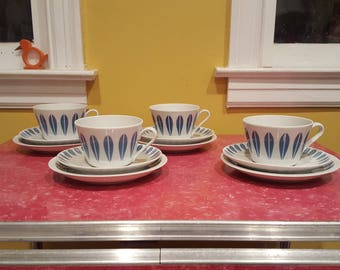 Lyngby Lotus Blue Coffee Cups with Saucers and Dessert Plates