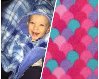 Car seat poncho, mermaid poncho, fleece poncho, carseat blanket, toddler poncho, baby poncho, carseat poncho, werable blanket