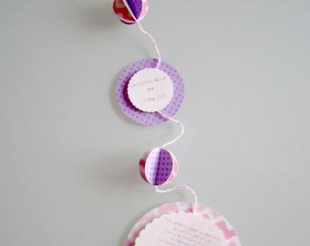 Original mobile baptism invitation with pink and purple tones Butterfly