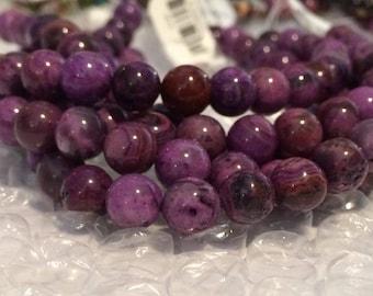 "20% OFF SALE Dakota Stones - 10mm Round Purple Crazy Lace Agate Beads - 8"" Strand"