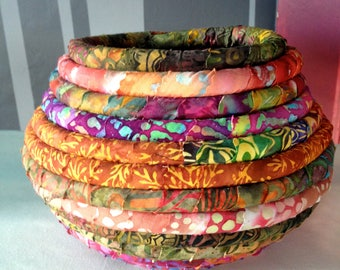 Batiked Fabric Wrapped and Coiled basket