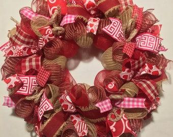 SALE Valentine Wreath, Burlap Valentine Wreath, Valentineu0027s Day Wreath,  Valentine Burlap, Valentine