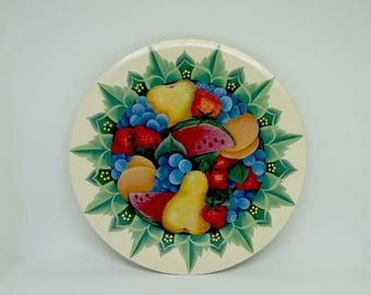 Wooden Plate; Hand Painted; Approx. 9.5 in. Fruit Motif; Tole Painting !!!!
