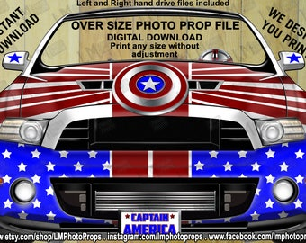 Captain America Car, Mustang Style, Instant Download, Digital, Photo Booth, Marvel Comic, Movies, Avengers, Superhero, DIY, Photo Prop File