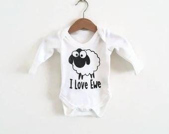 I love Ewe 100% Organic Cotton Bodysuit in long & short sleeve - Organic Onsie - Sheep Baby Vest - Sheep Baby Gift - Organic Farm Baby