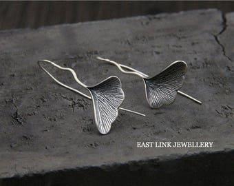 925 sterling silver dedicated vintage style leaf leaves ginkgo biloba silver wired wire hoop earrings
