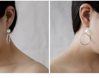 990 sterling silver handmade twist hoop drop earrings hook dangle hoop earrings womens gift