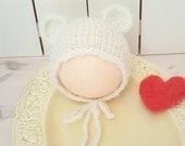 RTS Cream Bear bonnet, fluffy bonnet, newborn hat, newborn prop, Baby bear hat, knitted baby hat,  RTS Sale. mohair bear hat. UK seller