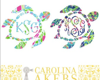 Monogrammed Sea Turtle Monogram Decal - Turtle Monogram - Turtle Decal - Monogram Decal - Car Decal - Yeti Decal - Yeti Sticker