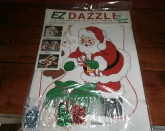 Christmas Bucilla EZ dazzle Santa stocking kit complete with sequins and full instructions