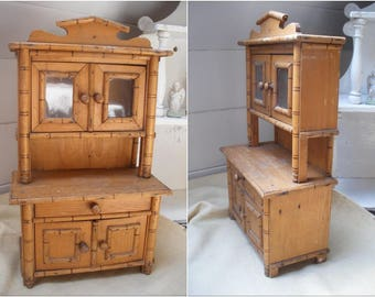 Antique French doll dresser, faux bamboo