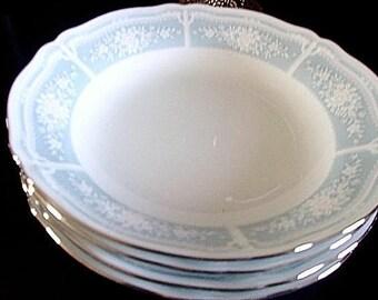 Noritake Lacewood 4 Soup Coupe Bowls Sophisticated Design Pastel Border Elegant Rich Platinum Border New