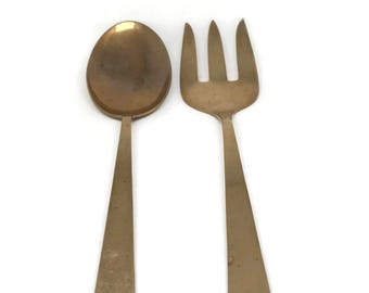 Vintage Star of Siam Brass Serving Spoon & Fork / Beautiful Salad Serving Set / Boho Decor Elegant Design