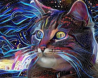 Cat Artwork, Cat Art Print, Gift for Cat Lover, Gift for Cat Owner, Psychedelic Art, Gift for Cat Lady, Cosmic Art, Tabby Cat