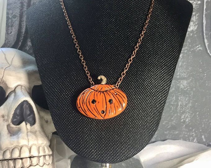 Featured listing image: Jack O'Lantern Pumpkin Pendant necklace