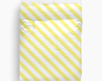 Yellow Duvet Cover, Ikat Bedding, Striped Duvet, Yellow Bedroom Decor, Girls Room Decor, Dorm Room, Duvet Cover Twin, Queen, King, Stripes