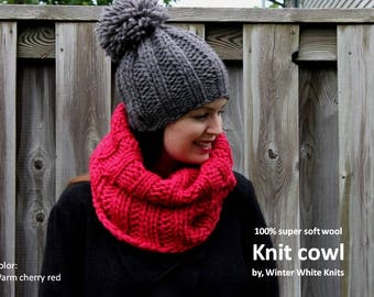 Wool cowl, knitted cowl, knit snood, winter cowl, cherry red knit cowl