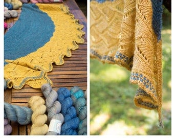 Yarn + Pattern kit for Sinergie shawl by UniqueCreazioni - Pre-Order - Hand dyed Silky Linen