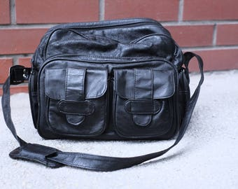 Big Black Vintage Leather Weatherproof Camera Bag