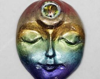 SALE - Rainbow Face Cabochon, Polymer Clay Face, Art Doll Face