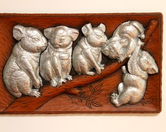 Vintage Australiana Australian koala  wildlife wooden plaque picture by  F. Rentz