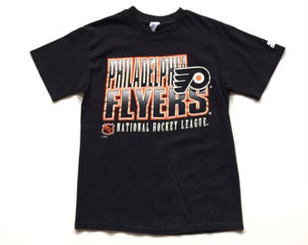 Philadelphia Flyers STARTER 100%  cotton short sleeve T shirt - Black / Orange mens small