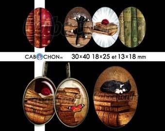 Vieux Livres  • 45 Images Digitales OVALES 30x40 18x25 13x18 mm chat livre grimoire vieux vintage ancien cabochon