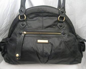 Isabella Fiore Large Studded Black Leather Shoulder Bag