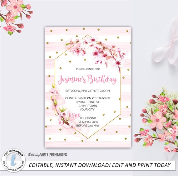 Cherry Blossom, Birthday Invitation, Pink Birthday Printable ...