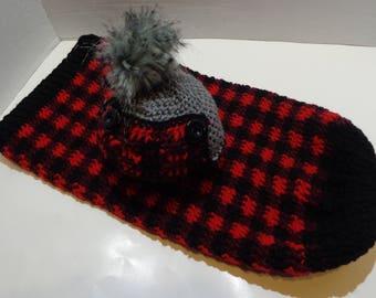 Newborn Plaid Cocoon and Hat Set