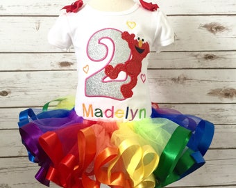 Rainbow Elmo birthday outfit sparkle applique seseme street birthday  rainbow ribbon tutu emlo party