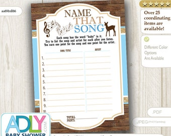 Boy Deer Name That Song Game, Guess Song Game, Name that Tune, Music game Digital Card for Baby shower DIY – Wood -aa89bsB86