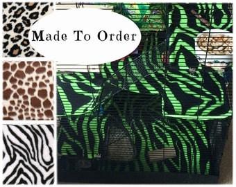 Custom fleece rat cage liner set - animal print - rat cage accessories - petco rat manor - zebra - cheetah - giraffe print - MADE TO ORDER
