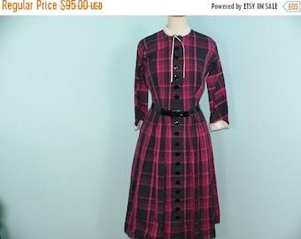 ON SALE 1950s L'Aiglon Plaid Dress / 50s Teacher Dress / 50's Plaid Dress