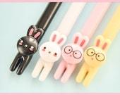 Cute Rabbit Gel Pens, Korean kawaii creative pen stationery, journal planner pen set, BUJO - Novelty Office & School - Art Supply - ST25