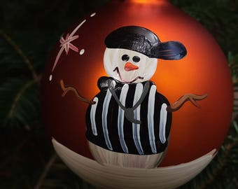 SALE!!! Referee Personalized Snowman Christmas Ornament Handpainted Gift