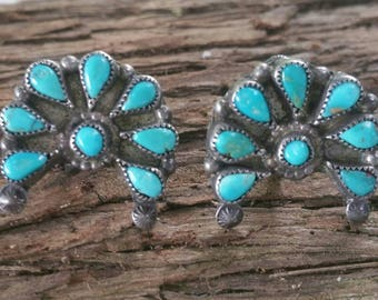 Old turquoise sterling screw back earrings