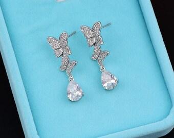 Butterfly Zirconia Earrings Bridal Earrings Crystal Earrings Wedding Dangle Drop Earrings Teardrop Earrings Wedding Bridal Jewelry 80752