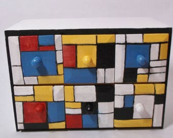 Mondrian pattern apothecary chest, six drawers, desk or craft organizer, hand painted, small.